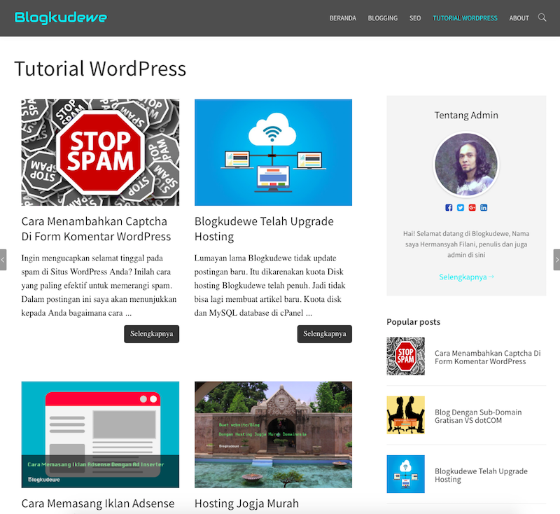 Halaman statis WordPress